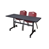 "Kobe 60"" Flip Top Mobile Training Table- Grey & 2 'M' Stack Chairs- Burgundy"