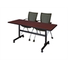"Kobe 60"" Flip Top Mobile Training Table- Mahogany & 2 Apprentice Chairs- Black"
