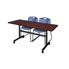 "Kobe 60"" Flip Top Mobile Training Table- Mahogany & 2 Zeng Stack Chairs- Blue"