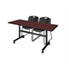 "Kobe 60"" Flip Top Mobile Training Table- Mahogany & 2 Zeng Stack Chairs- Black"
