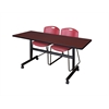 "Kobe 60"" Flip Top Mobile Training Table- Mahogany & 2 Zeng Stack Chairs- Burgundy"