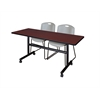 "Kobe 60"" Flip Top Mobile Training Table- Mahogany & 2 Zeng Stack Chairs- Grey"