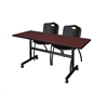 "Kobe 60"" Flip Top Mobile Training Table- Mahogany & 2 'M' Stack Chairs- Black"