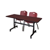 "Kobe 60"" Flip Top Mobile Training Table- Mahogany & 2 'M' Stack Chairs- Burgundy"