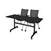 "Kobe 60"" Flip Top Mobile Training Table- Mocha Walnut & 2 Apprentice Chairs- Black"