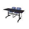 "Kobe 60"" Flip Top Mobile Training Table- Mocha Walnut & 2 Zeng Stack Chairs- Blue"