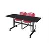"Kobe 60"" Flip Top Mobile Training Table- Mocha Walnut & 2 Zeng Stack Chairs- Burgundy"