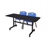 "Kobe 60"" Flip Top Mobile Training Table- Mocha Walnut & 2 'M' Stack Chairs- Blue"