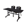 "Kobe 60"" Flip Top Mobile Training Table- Mocha Walnut & 2 'M' Stack Chairs- Black"