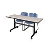 "Kobe 60"" Flip Top Mobile Training Table- Maple & 2 Zeng Stack Chairs- Blue"