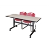 "Kobe 60"" Flip Top Mobile Training Table- Maple & 2 Zeng Stack Chairs- Burgundy"