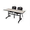 "Kobe 60"" Flip Top Mobile Training Table- Maple & 2 'M' Stack Chairs- Black"