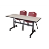 "Kobe 60"" Flip Top Mobile Training Table- Maple & 2 'M' Stack Chairs- Burgundy"