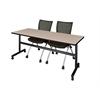 "Kobe 72"" Flip Top Mobile Training Table- Beige & 2 Apprentice Chairs- Black"