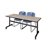 """Kobe 72"""" Flip Top Mobile Training Table- Beige & 2 Zeng Stack Chairs- Blue"""