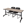 "Kobe 72"" Flip Top Mobile Training Table- Beige & 2 Zeng Stack Chairs- Black"