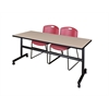 "Kobe 72"" Flip Top Mobile Training Table- Beige & 2 Zeng Stack Chairs- Burgundy"
