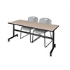 """Kobe 72"""" Flip Top Mobile Training Table- Beige & 2 Zeng Stack Chairs- Grey"""
