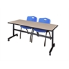 "Kobe 72"" Flip Top Mobile Training Table- Beige & 2 'M' Stack Chairs- Blue"
