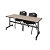 "Kobe 72"" Flip Top Mobile Training Table- Beige & 2 'M' Stack Chairs- Black"