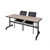 "Kobe 72"" Flip Top Mobile Training Table- Beige & 2 Mario Stack Chairs- Black"