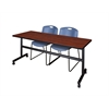 """Kobe 72"""" Flip Top Mobile Training Table- Cherry & 2 Zeng Stack Chairs- Blue"""