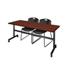 "Kobe 72"" Flip Top Mobile Training Table- Cherry & 2 Zeng Stack Chairs- Black"