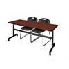 "Kobe 72"" Flip Top Mobile Training Table- Cherry & 2 Zeng Stack Chairs- Black"