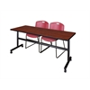 "Kobe 72"" Flip Top Mobile Training Table- Cherry & 2 Zeng Stack Chairs- Burgundy"