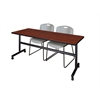 "Kobe 72"" Flip Top Mobile Training Table- Cherry & 2 Zeng Stack Chairs- Grey"