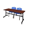 "Kobe 72"" Flip Top Mobile Training Table- Cherry & 2 'M' Stack Chairs- Blue"