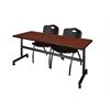 """Kobe 72"""" Flip Top Mobile Training Table- Cherry & 2 'M' Stack Chairs- Black"""