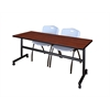 "Kobe 72"" Flip Top Mobile Training Table- Cherry & 2 'M' Stack Chairs- Grey"