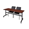 "Kobe 72"" Flip Top Mobile Training Table- Cherry & 2 Mario Stack Chairs- Black"