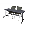 "Kobe 72"" Flip Top Mobile Training Table- Grey & 2 Apprentice Chairs- Black"