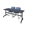 """Kobe 72"""" Flip Top Mobile Training Table- Grey & 2 Zeng Stack Chairs- Blue"""