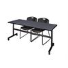 "Kobe 72"" Flip Top Mobile Training Table- Grey & 2 Zeng Stack Chairs- Black"