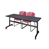 "Kobe 72"" Flip Top Mobile Training Table- Grey & 2 Zeng Stack Chairs- Burgundy"