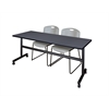 "Kobe 72"" Flip Top Mobile Training Table- Grey & 2 Zeng Stack Chairs- Grey"