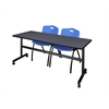 "Kobe 72"" Flip Top Mobile Training Table- Grey & 2 'M' Stack Chairs- Blue"