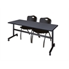 "Kobe 72"" Flip Top Mobile Training Table- Grey & 2 'M' Stack Chairs- Black"