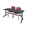 "Kobe 72"" Flip Top Mobile Training Table- Grey & 2 'M' Stack Chairs- Burgundy"