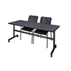 "Kobe 72"" Flip Top Mobile Training Table- Grey & 2 Mario Stack Chairs- Black"