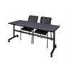 "Kobe 72"" Flip Top Mobile Training Table- Grey & 2 Mario Stack Chairs- Black"