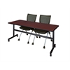 "Kobe 72"" Flip Top Mobile Training Table- Mahogany & 2 Apprentice Chairs- Black"