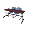 "Kobe 72"" Flip Top Mobile Training Table- Mahogany & 2 Zeng Stack Chairs- Blue"