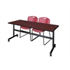 "Kobe 72"" Flip Top Mobile Training Table- Mahogany & 2 Zeng Stack Chairs- Burgundy"