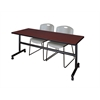 "Kobe 72"" Flip Top Mobile Training Table- Mahogany & 2 Zeng Stack Chairs- Grey"