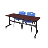 """Kobe 72"""" Flip Top Mobile Training Table- Mahogany & 2 'M' Stack Chairs- Blue"""