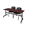 "Kobe 72"" Flip Top Mobile Training Table- Mahogany & 2 'M' Stack Chairs- Black"